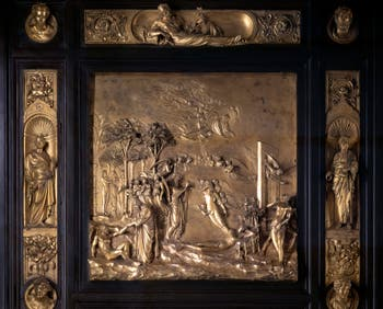 The Gate to Paradise, Adam and Eve of the Baptistery Saint-John in Florence in Italy