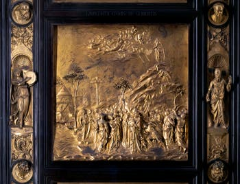 The Gate to Paradise, the tables of the Law are handed over to Moses, Baptistery Saint-John in Florence in Italy