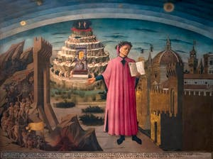 Domenico di Michelino, Dante and Its Worlds or Comedy Illuminating Florence, Florence Duomo, Santa Maria del Fiore Cathedral in Italy.