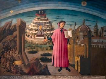 Domenico di Michelino, Dante and Its Worlds or Comedy Illuminating Florence, Florence Duomo, Santa Maria del Fiore Cathedral in Italy.