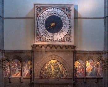 Florence Duomo's Clock and Musician Angels, Santa Maria del Fiore Cathedral in Italy