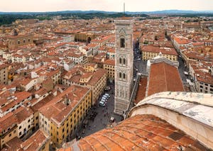 View of Florence's Giotto Bell Tower from Brunelleschi's Dome