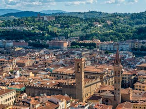 View of Florence, Bargello Museum and Badia Fiorentina Church and Bell Tower, from Brunelleschi's Dome