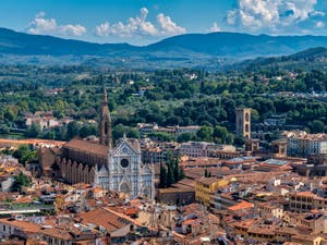 View of Florence Santa Croce Church from Brunelleschi's Dome