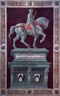 Paolo Uccello, Equestrian monument of Giovanni Acuto -  John Hawkwood in Florence Duomo, Santa Maria del Fiore Cathedral in Italy.