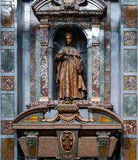 Scarcophagus and Statue of Ferdinando I de Medici, Grand Duke of Toscany, in the Chapel of Princes in Florence Italy