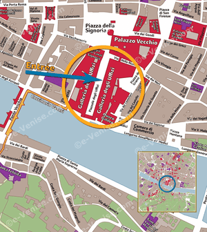 Location map of the Uffizi Gallery in Florencee