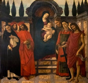 Botticelli, Trebbio Altarpiece, Madonna and Child on a throne with Saints Dominic, Cosmas, Damian, Francis, Lawrence and John the Baptist, at the Accademia Gallery in Florence