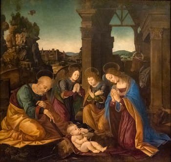Lorenzo di Credi, Adoration of the Christ Child, Accademia Gallery in Florence Italy
