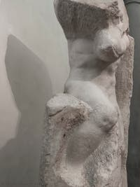 Michelangelo, Atlas prisoner, marble sculpture for Pope Julius II's Tomb, Accademia Gallery in Florence in Italy