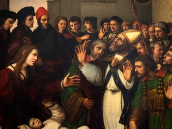 Ridolfo del Ghirlandaio, Saint Zenobus resurrects a young man, at Accademia Gallery in Florence Italy