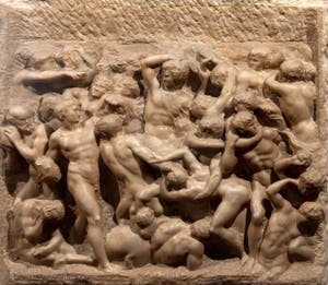 Michelangelo, Battle of the Centaurs with Hercules, Casa Buonaroti Museum in Florence in Italy
