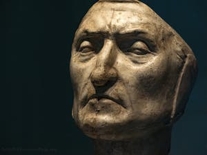 Dante Alighieri's Funeral Mask at Palazzo Vecchio in Florence in Italy