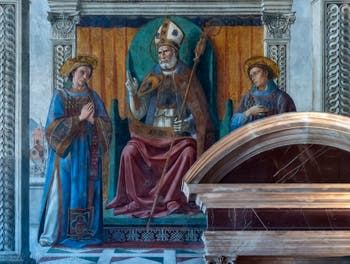 Domenico Ghirlandaio, St. Zenobius, Eugene and Crescentius in the Sala dei Gigli, the Lily Room at Palazzo Vecchio in Florence in Italy