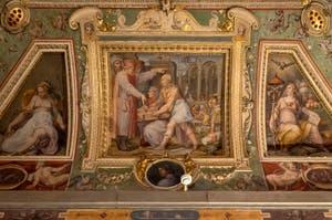 Giorgio Vasari, Brunelleschi and Ghiberti present Cosimo the Elder a model of the church of San Lorenzo, Palazzo Vecchio in Florence, Italy