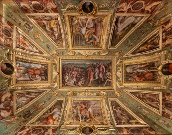 Giorgio Vasari, Marco da Faenza, frescoes of the ceiling of the room Cosimo the Elder of Palazzo Vecchio in Florence Italy