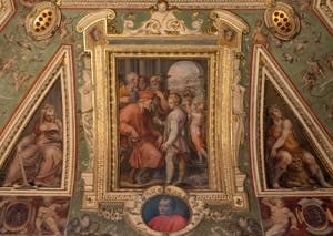 Giorgio Vasari, Cosimo the Elder reveals to Sante Bentivoglio his origin to govern Bologna, Palazzo Vecchio in Florence, Italy
