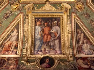 Giorgio Vasari, Cosimo the Elder surrounded by scholars and artists, Palazzo Vecchio in Florence, Italy