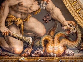 Giorgio Vasari, Hercules kills the Hydra, Lorenzo the Magnificent Room at Palazzo Vecchio in Florence Italy