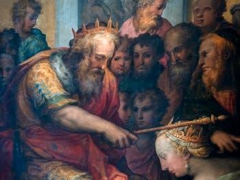 Giorgio Vasari, Esther begs King Ahasuerus to halt the massacre of the Jews, Palazzo Vecchio in Florence in Italy.