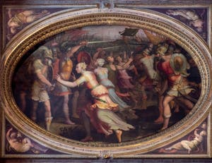Giorgio Vasari, The Sabines women make peace between their own people and the Romans, at Palazzo Vecchio in Florence in Italy.