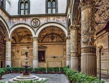 Michelozzo, Vasari and Pierino da Vinci Cortile, courtyard of the Palazzo Vecchio in Florence in Italy