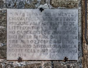 Prison of Cosme the Elder and Savonarola in the Arnolfo Tower of Palazzo Vecchio in Florence