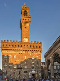 Palazzo Vecchio and its Tower, the Signoria in Florence in Italy
