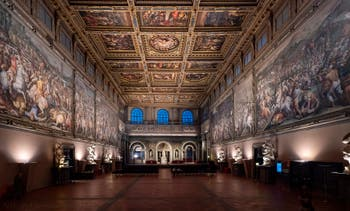 Hall and Ceiling of the Five Hundred Hall of Palazzo Vecchio in Florence Italy