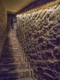 Internal staircase of Arnolfo di Cambio Tower of the Palazzo Vecchio in Florence in Italy