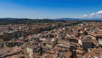 Florence and the Arno River seen from the Palazzo Vecchio Arnolof Tower
