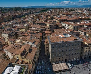 The Arno River and the Signoria Square in Florence Italy