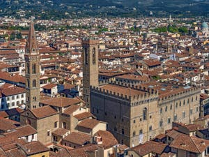 The Badia Fiorentina Church and Bell Tower and the Bargello Museum in Florence in Italy, seen from the Arnolfo tower of the Palazzo Vecchio