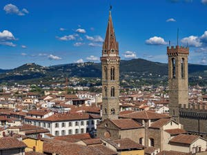The Badia Fiorentina Bell Tower and the Bargello Palace Tower seen from the Palazzo Vecchio Arnolfo Tower in Florence in Italy