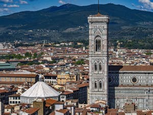 The Baptistery and Giotto Bell Tower in Florence seen from the Palazzo Vecchio tower