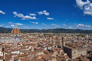 Bruneleschi Duomo dome, Badia Fiorentina and Bargello Museum in Florence seen from the Palazzo Vecchio Arnolfo Tower