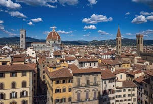 Giotto Bell Tower, the Duomo, the Badia Church and the Bargello in Florence in Italy, seen from the Palazzo Vecchio tower