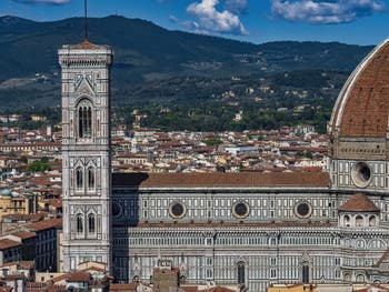 Giotto Bell Tower and the Duomo in Florence, seen from the Palazzo Vecchio Tower.