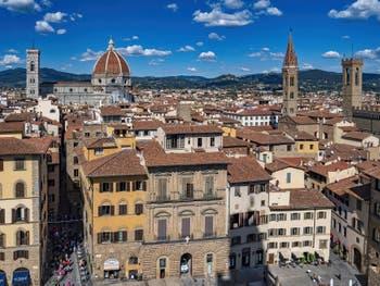 The Piazza della Signoria Square seen from the Palazzo Vecchio Tower in Florence in Italy
