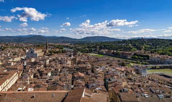 The Arno River and the Santa Croce Basilica in Florence, seen from the Palazzo Vecchio Tower