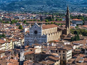 The Santa Croce Basilica and Bell Tower seen from the Palazzo Vecchio Arnolfo Tower in Florence in Italy