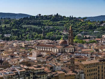 The Oltrarno and the Santo Spirito Church in Florence in Italy seen from the Palazzo Vechhio Tower.