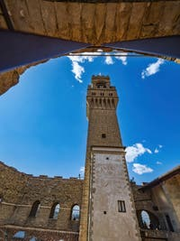 The Arnolfo Tower of the Palazzo Vecchio in Florence in Italy