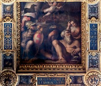 Giorgio Vasari and Giovanni Stradano and Giovanni Battista Naldini, Allegory of Arezzo, Ceiling of the Hall of Five Hundred of Palazzo Vecchio in Florence