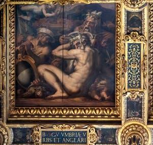 Giorgio Vasari and Giovanni Stradano, Allegory of Borgo San Sepolcro and Anghiari, Ceiling of the Hall of Five Hundred of Palazzo Vecchio in Florence