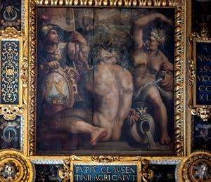 Giorgio Vasari and Giovanni Stradano, Allegory of Casentino, Ceiling of the Hall of Five Hundred of Palazzo Vecchio in Florence
