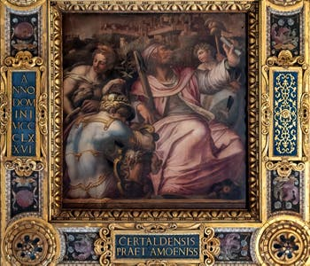 Giorgio Vasari and Jacopo Zucchi, Allegory of Certaldo of the district of Santo Spirito, Ceiling of the Hall of Five Hundred of Palazzo Vecchio in Florence