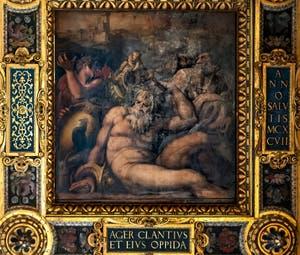 Giorgio Vasari, Giovanni Stradano and Jacopo Zucchi, Allegory of Chianti, Ceiling of the Hall of Five Hundred of Palazzo Vecchio in Florence
