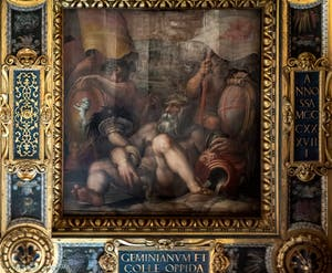 Giorgio Vasari and Giovanni Stradano, Allegory of Colle Val d'Elsa and San Gimignano, Ceiling of the Hall of Five Hundred of Palazzo Vecchio in Florence