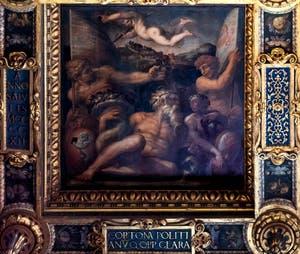 Giorgio Vasari and Giovanni Stradano, Allegory of Cortona and Montepulciano, Ceiling of the Hall of Five Hundred of Palazzo Vecchio in Florence